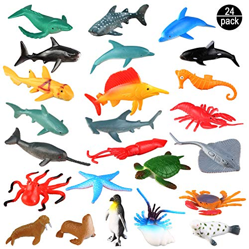 OOTSR Toy Animals, Assortment of 24 Mini Plastic Marine Animal Figures, Realistic Underwater Wildlife for Playing in the Bath, Educational Sea Party, Cake Ornament or Cupcake