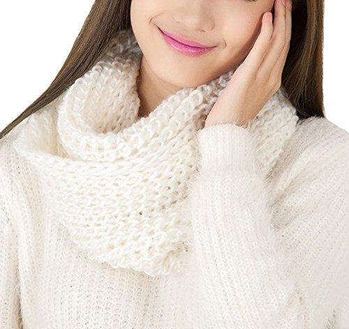 Soft Floral Schal (Funyye Stilvoller Art Elegant Solide Farbe Winter Warme häkeln Hals Wärmer Unendlichkeit Gestrickt Schal Schlauchschal Winterschal für Frauen Mädchen Damen Weiblich,Weiß)