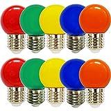 10 x LED Leuchtmittel Tropfen Kugel 2W E27 360° Bunt gemischt rot grün blau orange gelb