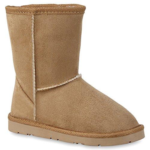 Warm Gefütterte Damen Stiefel Boots Schlupfstiefel Kunstfell Schuhe Khaki Beige