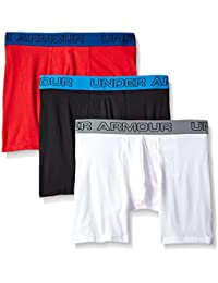 "Under Armour Charged Cotton 6"" Pack de 3 Boxer, Hombre, Negro/Rojo/Blanco, L"