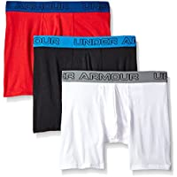 Under Armour Charged Cotton 6in, Bóxer para Hombre, Negro (Black/White/Red 004), L, Pack de 3
