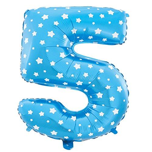 Cotigo-Globo número Blanco Estrella cumpleaños de 70cm azul 5