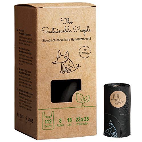 TSP Bio-abbaubare Hundekotbeutel Premium mit Henkeln - OK compost HOME zertifiziert - 100{e901fe82ac1f9c6cf51ec26d5f1bd1efecb2c11f3775be8cd893964be5bdbe5d} heim-kompostierbar und biologisch abbaubar (kein OXO!) - Gross, Extra Dick (18µm) (8 Rollen (112 Beutel))