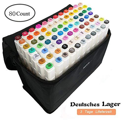 80 Farbige Graffiti Pens Oily Marker Set Twin Tip Textmarker für Studenten Manga Kunstler Sketch Marker Stifte Set Mit (Weiß 1) - In Geschenk-karte $25 Box