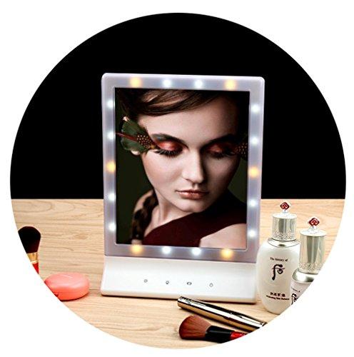 MZP Beauty LED-Licht-Schminkspiegel, Tragbare Dimmbare Leuchttisch Kosmetikspiegel LED-Kosmetikspiegel Wiederaufladbare Touchscreen Mit Tasche (Silber)