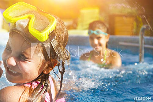 druck-shop24 Wunschmotiv: Children Playing in Pool. Two Little Girls Having Fun in The Poo #112103066 - Bild auf Forex-Platte - 3:2-60 x 40 cm / 40 x 60 cm