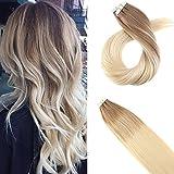 Moresoo Tape On Extensions Haarverlängerung Zum Kleben 20zoll/50cm Skin Weft Brasilianisch Remy Tressen Glatt Braun #6 Zu Blond #60 Zweifarbig 20Pcs/50Gramm