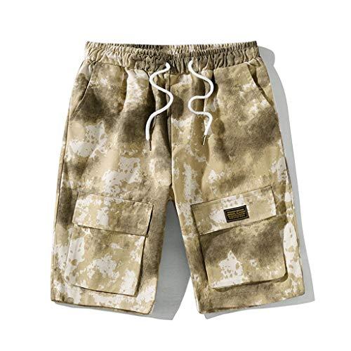 WQIANGHZI Herren Cargo Shorts Herren Shorts Kurze Camo Hosen Camouflage Cargo Shorts Herren Classics Vintage Kurz Freizeithose Regular Fit Kordelzug Viele Tasche