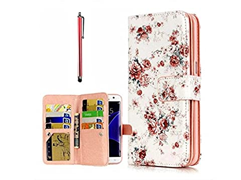 KSHOP Premium Accessory Set for Samsung Galaxy S7 Edge Cover Flip Folio Stand PU Leather Wallet Case Ultra Slim Pattern Practical Magnetic Closure with Card Slots Scratch-resistant Shockproof Protective Shell-Pink Peony + Metal Touch Pen,Rose