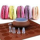 SOEKAVIA Macaron Set, 48-Kapazität Silikon Macarons Backmatte Macarons Backset Macaron Backen Form Set mit Düsen DIY backen Werkzeug Satz