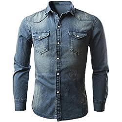 Toamen Camisas de hombre Camisas de mezclilla retro Vaqueros Blusa Slim Thin Long Tops (XL/Tamaño asiático:XXL, A)