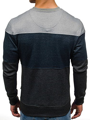 BOLF Herren Pullover Sweatshirt Langarmshirt Sport MIX Grau-Dunkelblau_3668