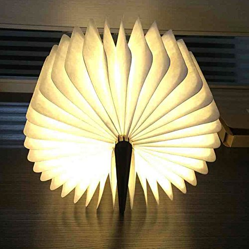 Große LED Buch lampe in Buch Form Holzbuch mit 2500 mAh Akku Lithium Nachttischlampe Nachtlicht dekorative Lampen Ölbildscheibe Papier + Holz Einband warmweiß Licht, Maße 22x3x17.5 cm - 6