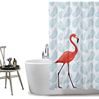 FuXing Imperméable etAnti-moisissure PEVA Rideau de Douche Flamant Imprimé Numérique Avec Motif élégant Une baignoire Rideaux Accessoires de Salle de Bain 180 x 200 cm (Flamingos)