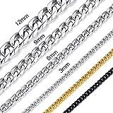 ChainsHouse 12mm hochwertiger 316L Edelstahl Halskette Herren Schmuck Panzerkette mit Schmuckbeutel für Bruder/Papa