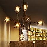 Hines Vintage Industrial Style Antik Bronze Rohr Sputnik Anhänger Beleuchtung Kronleuchter Wasserpfeife Solid Schmiedeeisen Steampunk Celling Licht Hängelampe Leuchte mit Metallgehäuse Verwendung 8 E27 Lampen