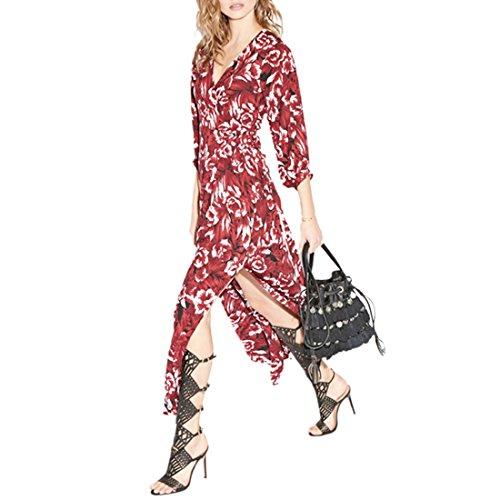 Womens Long Sleeve V Ausschnitt Taille vorne Split Slit Kimono lang Maxi Kleid XS XXL Rote