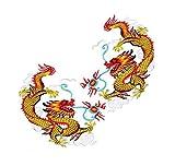 Ximkee 1 Paar Gold Chinesisch Kampf Drachen Totem Bestickte Applikationen Nähen Eisen Auf Patches