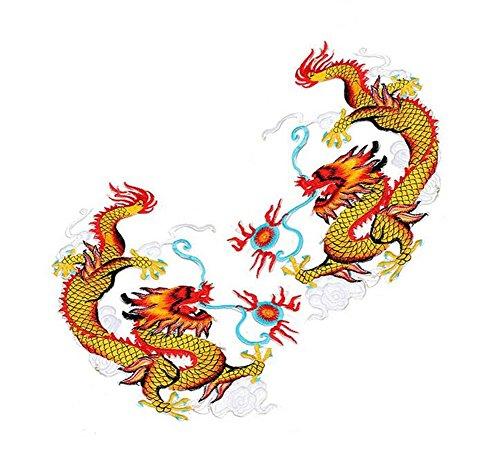 1 par de parches bordados Ximkee de dragón chino volando para coser y planchar