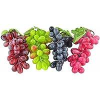 4ramilletes de Artificial, color negro, rojo, verde y morado uvas Artificial Fruit Home casa cocina decoración de boda fiesta casa fotografía