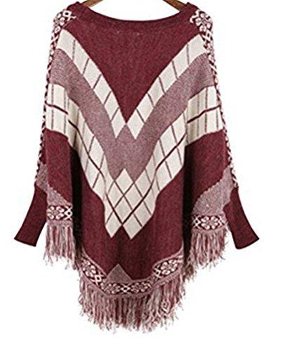 Ghope Femme Pull Poncho cape Haut hiver Pullover en tricot à col roulé de plissés Rouge