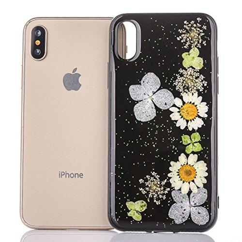 Mobiltelefonhülle - Für iPhone X Schwarz Epoxy Tropf Pressed Echte Getrocknete Blume Weiche Schutzhülle ( SKU : Ip8g0987k ) Ip8g0987d