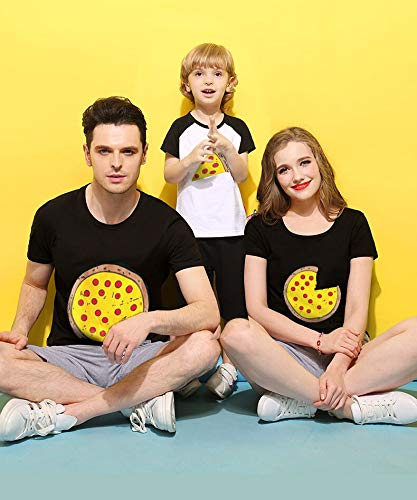 XMDNYE Familie passenden Pizza T-Shirt Mädchen Kostüm Mode lustige Outfits Kinder Tops Jungen Kleidung Mutter Tochter Tees