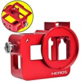 MENGS® Aluminium-Legierung Gehäuse Fall Für GoPro Hero 5 Mit rückseitiger Abdeckung + 52mm UV Filter und Objektivdeckel - Rot