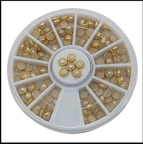Nail Art Strasssteine Set Perlen rund creme mit goldenen Rand 4mm 3D Effekt im Rondell - CartoonPrintDesign