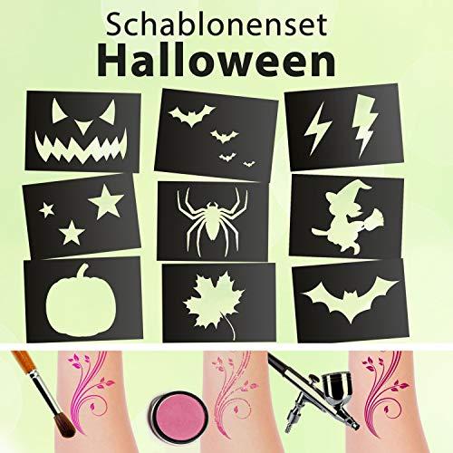Tattoo Schablonen SET Halloween (9 Schablonen) Selbstklebend Kinderschminken Airbrush