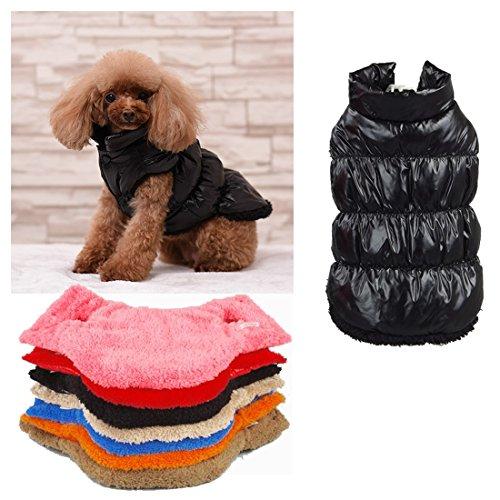 Kismaple Haustier Hundejacke Katze Mantel Jacke Wasserabweisend Warm Winter Jacken Mäntel Outdoor für kleine Hunde Weste Schwarz XS Brust: 26-28CM (Reißverschluss 27 Mantel)