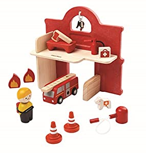 Plan Toys Fire Station - Kits de Figuras de Juguete para niños (3 año(s), Rojo, Niño/niña, Madera)