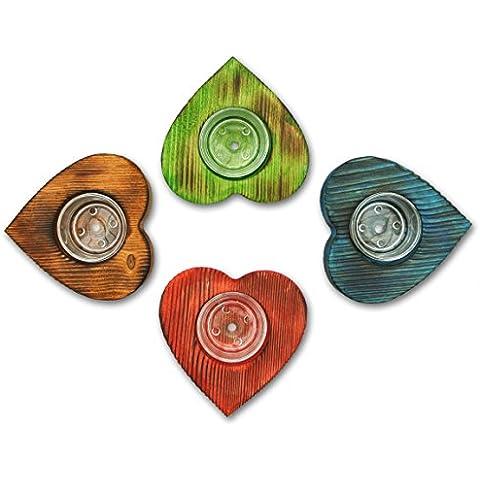 Snugbe portacandele Tea Light Set di 4cuori in legno, blu, verde, rosso marrone, con 4ciotole in vetro