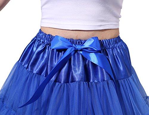 Poplarboy Damen Kurz Tüll Vintage Petticoat Reifrock Mehrfarbengroß Unterröcke Braut Crinoline Ballett Blase Tutu Ball Kleid Underskirt Königsblau