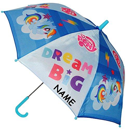 """Regenschirm / Stockschirm - """" My little Pony - Einhorn & Pferde """" - incl. Name - BLAU - Kinderschirm - Ø 78 cm - Kinder Schirm Kinderregenschirm / Glockenschirm - für Mädchen & Jungen - Pferd - mein kleines Pony Ponys Regenbogen - Mädchenschirm - Einhörner"""