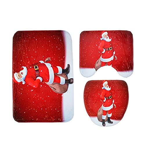 Set Bagno Babbo Natale.Sungpunet 3pcs Set Di Natale Di Copertura Sedili Wc And Rug Set