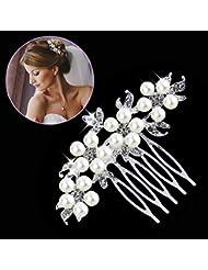 Gutian Damen Künstliche Perlen Kristall Blume Handarbeit DIY Braut Hochzeit Kamm Steckkamm HaarkammHaarschmuck Ivory-farbe