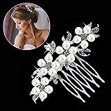 Gutian Damen Künstliche Perlen Kristall Blume Handarbeit DIY Braut Hochzeit