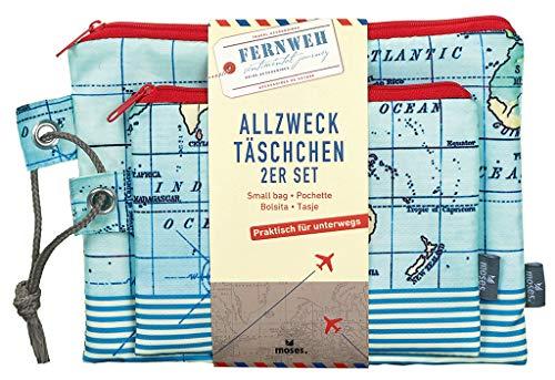 moses. Fernweh Allzweck-Täschchen 2er Set | Kosmetiktaschen für die Reise | Für Schminkutensilien Kosmetiktäschchen, 22 cm, Blau