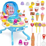 SLONG DIY Ice Cream Play House Toy Set Light Music Ice Cream Table Simulation Dessert Station Girl Child Gift