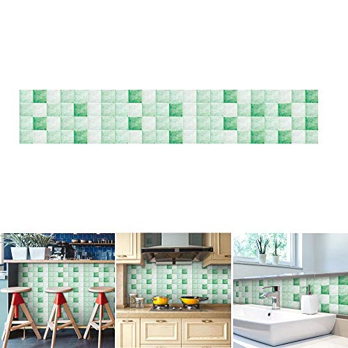 Aolvo Backsplash Wallpaper 196.8 * 7.8 Inch, Mosaic Contact Paper Decorative Self Adhesive Waterproof/Oil-proof Tile Sticker DIY Creative
