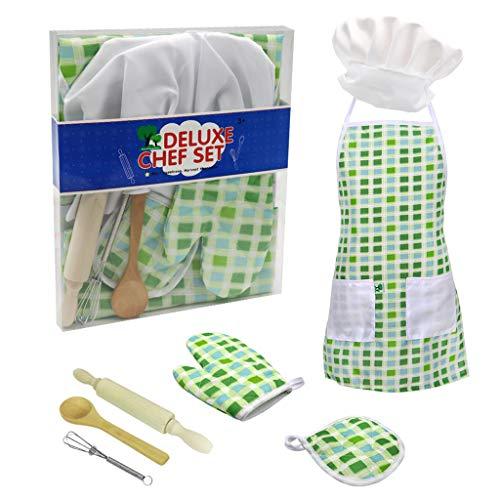 Webla 7pc per bambini cucina e cottura set abbigliamento cucina fingono gioco di ruolo cappello grembiule