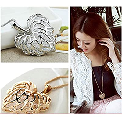 HuaYang Graceful Hollow-out Love Heart Leaf Pendant Crystal Necklace Turque Sweater Chain(Silver)