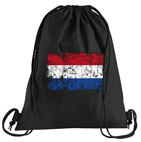T-Shirt People Niederlande Holland Vintage Flagge Fahne Sportbeutel - Bedruckter Beutel - Eine schöne Sport-Tasche Beutel mit Kordeln (Holland Halloween Kostüme)