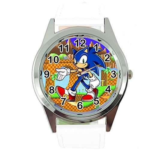 Taport® Quarzuhr weiß Lederband für Sonic The Hedgehog Fans