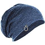 Gajraj Cotton Steel Blue Slouchy Beanie Cap for Winter, Summer, Autumn & Spring Season, Can be used as a Helmet Cap