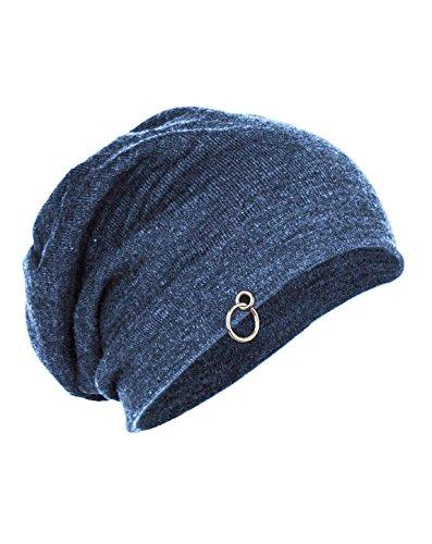 Gajraj Unisex Cotton Steel Blue Slouchy Beanie