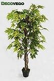 Decovego Ahorn Ahornbaum Kunstpflanze Kunstbaum Künstliche Pflanze mit Echtholz 130cm