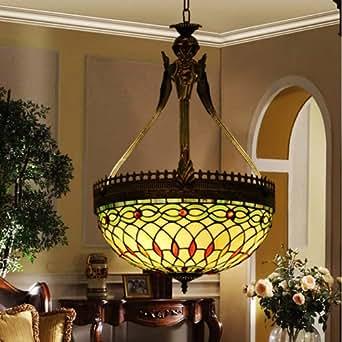 kronleuchter im tiffany stil buntglas 3 lampen amazon. Black Bedroom Furniture Sets. Home Design Ideas